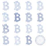 Collage disegnato a mano di logo di Bitcoin Immagini Stock Libere da Diritti