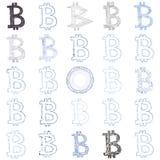 Collage disegnato a mano di simbolo di Bitcoin Fotografia Stock Libera da Diritti