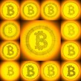 Collage disegnato a mano dorato di simbolo di Bitcoin Fotografie Stock