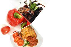 Collage of dishes and vegetables on a white background stock photography