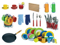 Collage of dishware, utensil. Royalty Free Stock Photos