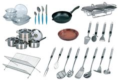 Collage of dishware, utensil, pans. Isolated on white Stock Images