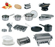 Collage of dishware, utensil, pans Stock Photography