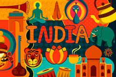 Collage displaying rich cultural heritage of India. Vector illustration of collage displaying rich cultural heritage of India Stock Photos