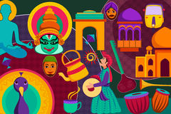 Collage displaying rich cultural heritage of India. Vector illustration of collage displaying rich cultural heritage of India stock illustration