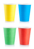 Collage disposable cups Royalty Free Stock Images