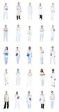 Collage of diverse doctors. Standing over white background Royalty Free Stock Images
