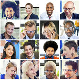Collage Diverse Faces Group People Concept Stock Photography
