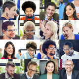 Collage Diverse Faces Group People Concept Royalty Free Stock Images