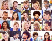 Collage Diverse Faces Group People Concept Stock Images