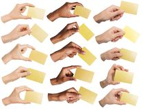 Collage of diverse hands holding blank business cards, isolated royalty free stock photo