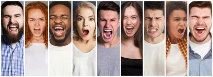 Collage of diverse people shouting at studio background. Set of diverse people screaming at studio background royalty free stock photo