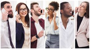 Collage of diverse people talking on mobile royalty free stock photos