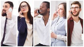 Collage of diverse people talking on mobile. Set of diverse people using mobile. Collage of smiling young men and women having pleasant conversation on stock image