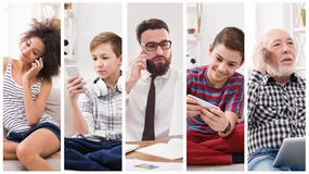 Collage of diverse people using digital devices royalty free stock images