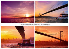 Collage of diverse photos of bridge. Istanbul, Turkey Royalty Free Stock Photo