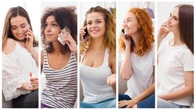 Collage of diverse women talking on mobile. Set of diverse women using mobile. Collage of smiling young girls having pleasant conversation on smartphone royalty free stock photos