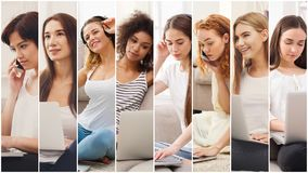 Collage of diverse women talking on mobile stock images