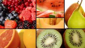Collage diverso de las frutas almacen de video