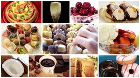 Collage diverso de los postres almacen de video
