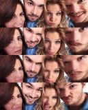 Collage divertido de la gente joven que hace caras Foto de archivo libre de regalías