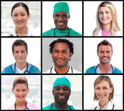 Collage of doctors portraits smiling at the camera. Collage of doctors and nurses portraits smiling at the camera Royalty Free Stock Image