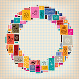 Collage doodle circle frame background Royalty Free Stock Image