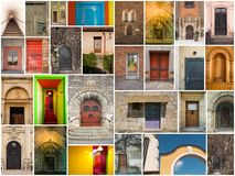 Collage of doors stock image