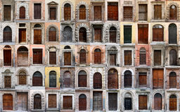 Old wooden doors collection. Collage of 60 doors and gates. Sixty doors and gates in the old historic center of Perugia (Italy) / style and architecture over Stock Image