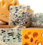 Collage of dorblu and other cheeses Stock Photos
