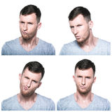 Collage of doubtful,querstionable, incredulous face expressions Stock Photo