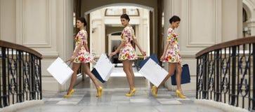 Collage drei Einkaufsfrauen Lizenzfreie Stockfotos