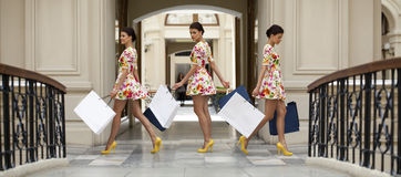 Collage drie winkelende vrouwen Royalty-vrije Stock Foto's