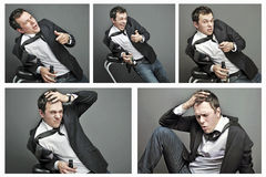Collage of Drunk young man in office clothes Stock Photo