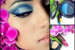 Collage du visage de la belle femme avec des produits de beauté Photos stock