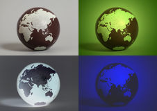 Collage with Earth World Globes Royalty Free Stock Images