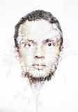 Collage ecológico conceptual, cara del hombre y pequeño modelo del árbol Foto de archivo libre de regalías