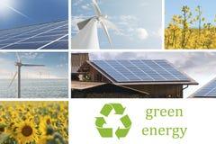 Collage ecológico y de las energías renovables fotografía de archivo