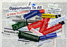 Collage economy9. Collage of paper headlines about the business Royalty Free Stock Image