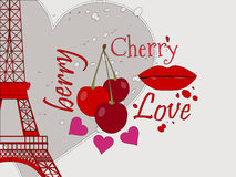 Collage from the Eiffel Tower, a cherry and a kiss. Stock Image