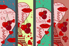 Collage from the Eiffel Tower, a cherry and a kiss. Set romantic collages. Paris. France. Contemporary art. Vector illustration Stock Photography