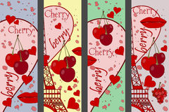 Collage from the Eiffel Tower, a cherry and a kiss. Set romantic collages. Paris. France. Contemporary art. Vector illustration Royalty Free Stock Images