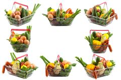 Collage of Shopping Carts with Perfect Fruit, Meat and Vegetable Royalty Free Stock Image