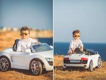 Collage, ein kleiner Junge, zum mit dem Auto zu reisen Stockfoto