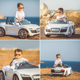 Collage, ein kleiner Junge, zum mit dem Auto zu reisen Lizenzfreies Stockbild
