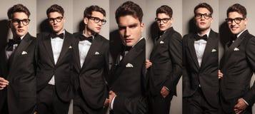 Collage eines jungen eleganten Geschäftsmannes Stockbilder