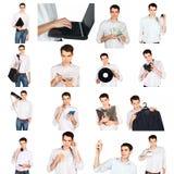 Collage eines jungen Mannes mit Büro wendet ein Lizenzfreie Stockbilder