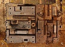 Collage eines mechanischen Gerätes Stockfotos