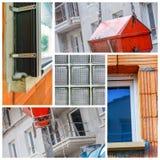 Collage eines neuen Wohngebäudes Stockfotografie