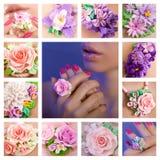 Collage eines Polymerlehmschmucks: romantische Art, Frühlingsflora Stockfotografie